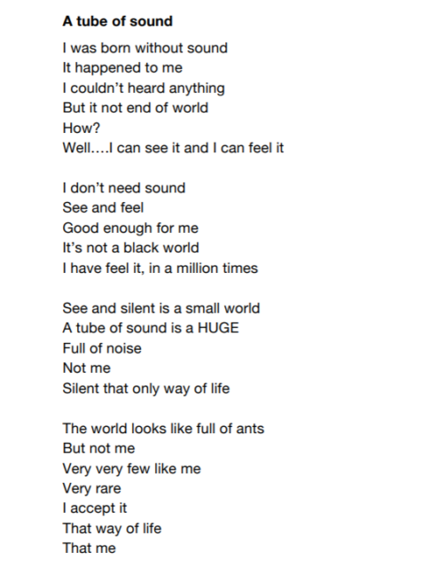 A tube of sound poem from Chilli Studios Writing Group