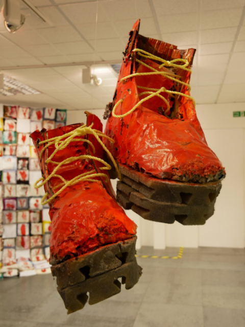 """Too big for One's Boots"", sculpture"